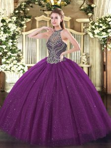 Eggplant Purple Quinceanera Gowns Party and Military Ball and Sweet 16 and Quinceanera with Beading Halter Top Sleeveless Lace Up