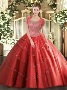 Beading 15 Quinceanera Dress Coral Red Clasp Handle Sleeveless Floor Length