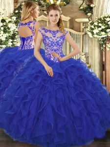 Romantic Royal Blue Scoop Lace Up Beading and Ruffles Vestidos de Quinceanera Sleeveless
