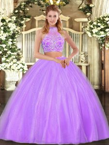 Floor Length Two Pieces Sleeveless Lilac Quinceanera Dress Criss Cross