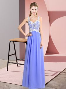 Traditional Lavender Sleeveless Lace Floor Length Prom Party Dress