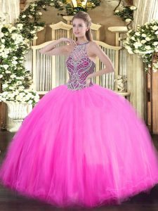 Amazing Sleeveless Tulle Floor Length Lace Up Ball Gown Prom Dress in Rose Pink with Beading