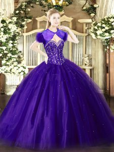 High Class Sweetheart Sleeveless Tulle Quinceanera Gowns Beading Lace Up