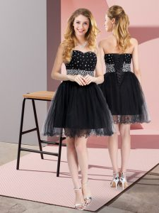 Sleeveless Lace Up Mini Length Beading Prom Dress