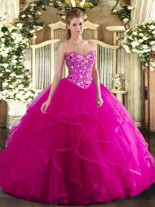 Customized Sweetheart Sleeveless Quinceanera Dress Floor Length Embroidery and Ruffles Fuchsia Tulle
