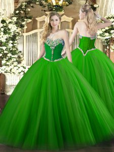 Best Selling Green Ball Gowns Tulle Sweetheart Sleeveless Beading Floor Length Lace Up Quinceanera Gowns