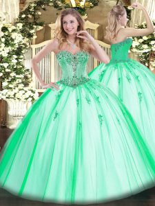 Sweetheart Sleeveless Tulle Sweet 16 Quinceanera Dress Beading and Appliques Lace Up
