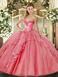 Watermelon Red Sweetheart Lace Up Beading and Ruffled Layers Quince Ball Gowns Sleeveless