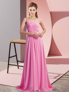 Rose Pink Sleeveless Chiffon Sweep Train Backless Prom Evening Gown for Prom and Party