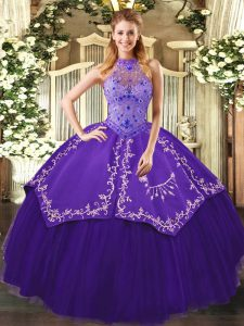 Inexpensive Purple Lace Up Halter Top Beading and Embroidery Vestidos de Quinceanera Tulle Sleeveless