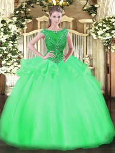 Green Scoop Neckline Beading Ball Gown Prom Dress Cap Sleeves Zipper