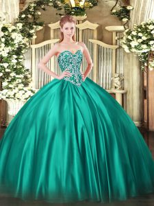 Shining Turquoise Sleeveless Satin Lace Up Quinceanera Gown for Military Ball and Sweet 16 and Quinceanera