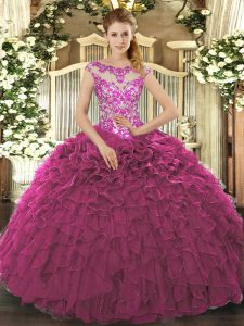 Cap Sleeves Lace Up Floor Length Beading and Appliques and Ruffles Quinceanera Gown