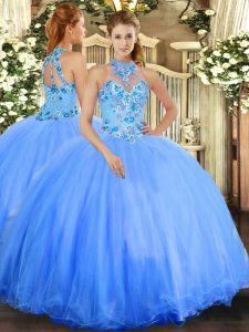 Embroidery Quinceanera Gowns Blue Lace Up Sleeveless Floor Length