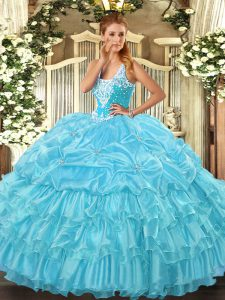 Aqua Blue Lace Up Sweet 16 Dress Beading and Ruffled Layers and Pick Ups Sleeveless Floor Length