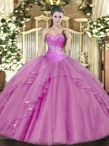 Sweetheart Sleeveless Lace Up Quinceanera Gowns Lilac Tulle