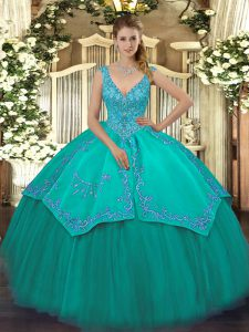 Ideal Turquoise Ball Gowns Beading and Embroidery Quinceanera Gowns Zipper Taffeta and Tulle Sleeveless Floor Length