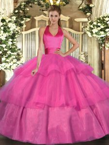 Elegant Fuchsia Ball Gowns Tulle Halter Top Sleeveless Ruffled Layers Floor Length Lace Up 15th Birthday Dress