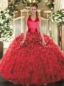 Sleeveless Organza Floor Length Lace Up Sweet 16 Dresses in Red with Ruffles