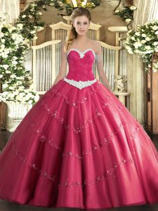 Sleeveless Floor Length Appliques Lace Up Quinceanera Dress with Hot Pink