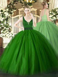 Green Sleeveless Tulle Zipper Sweet 16 Dresses for Military Ball and Sweet 16 and Quinceanera