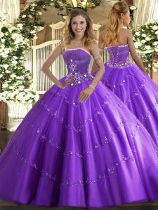 Floor Length Lavender Quinceanera Gowns Tulle Sleeveless Beading and Appliques