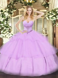 Ball Gowns Quinceanera Gown Lavender Sweetheart Tulle Sleeveless Floor Length Lace Up