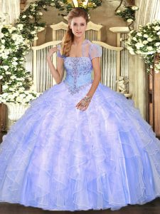 Sexy Floor Length Lace Up Quinceanera Dress Light Blue for Military Ball and Sweet 16 and Quinceanera with Appliques and Ruffles