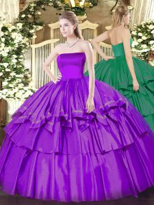 Extravagant Ruffled Layers Ball Gown Prom Dress Eggplant Purple Zipper Sleeveless Floor Length