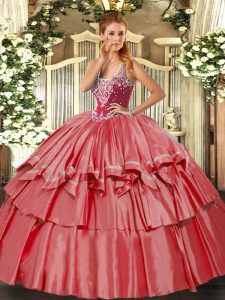 Fashion Coral Red Organza and Taffeta Lace Up Sweet 16 Dress Sleeveless Floor Length Beading and Ruffled Layers