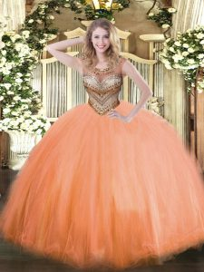 Orange Red Lace Up Scoop Beading Sweet 16 Dresses Tulle Sleeveless