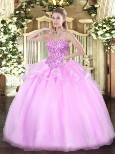 Customized Sleeveless Floor Length Appliques Lace Up Quinceanera Gown with Lilac