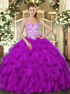 Fuchsia Straps Neckline Beading and Appliques and Ruffles Sweet 16 Dresses Sleeveless Lace Up