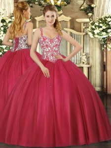 Coral Red Ball Gowns Tulle Straps Sleeveless Beading and Appliques Floor Length Lace Up Quinceanera Dresses