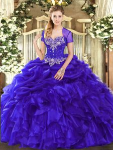 Purple Lace Up Sweetheart Beading and Ruffles and Pick Ups Quinceanera Gown Organza Sleeveless