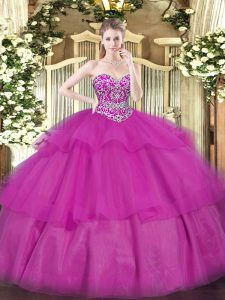 Designer Fuchsia Lace Up Quince Ball Gowns Beading and Ruffled Layers Sleeveless Floor Length