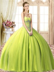 Yellow Green Quinceanera Dress Military Ball and Sweet 16 and Quinceanera with Beading Sweetheart Sleeveless Lace Up