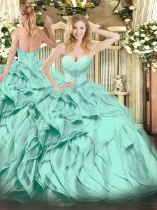 Stunning Turquoise Ball Gowns Sweetheart Sleeveless Organza Floor Length Lace Up Beading and Ruffles Sweet 16 Dresses