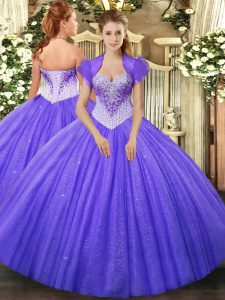 Affordable Floor Length Ball Gowns Sleeveless Lavender Ball Gown Prom Dress Lace Up