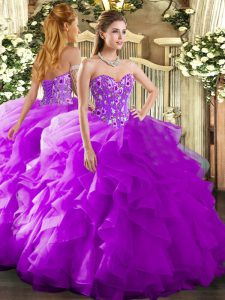 Glittering Purple Ball Gowns Organza Sweetheart Sleeveless Embroidery and Ruffles Floor Length Lace Up 15 Quinceanera Dress