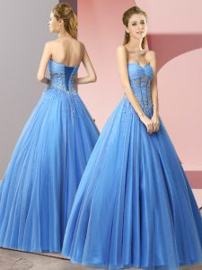 Vintage Baby Blue Lace Up Sweetheart Beading Dress for Prom Tulle Sleeveless