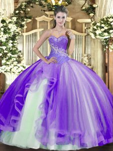 Floor Length Ball Gowns Sleeveless Lavender Quince Ball Gowns Lace Up