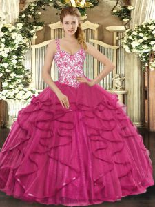 Best Selling Floor Length Hot Pink 15 Quinceanera Dress Tulle Sleeveless Beading and Appliques and Ruffles