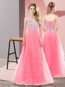 Super Sleeveless Tulle Floor Length Lace Up Dress for Prom in Watermelon Red with Beading