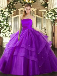 Exceptional Floor Length Lace Up Quinceanera Dress Eggplant Purple for Military Ball and Sweet 16 and Quinceanera with Ruffled Layers