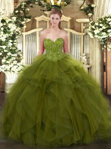 Dazzling Olive Green Sweetheart Lace Up Beading Quinceanera Gown Sleeveless