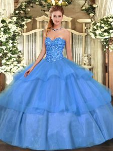 Colorful Baby Blue Sweetheart Neckline Beading and Ruffled Layers Quinceanera Gown Sleeveless Lace Up