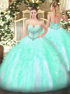 Hot Selling Apple Green Lace Up Quinceanera Gowns Beading and Ruffles Sleeveless Floor Length
