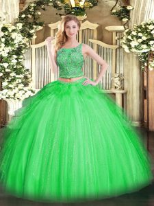 Floor Length Quinceanera Gown Tulle Sleeveless Beading and Ruffles