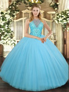 Floor Length Ball Gowns Sleeveless Aqua Blue Quinceanera Dresses Lace Up